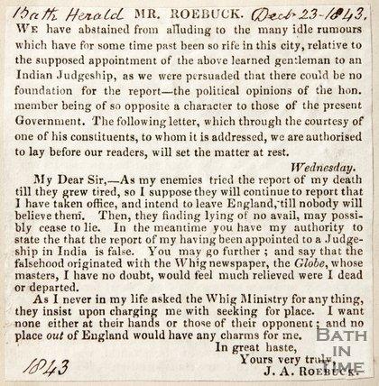 Newspaper article regarding rumours of the death of Mr Roebuck, 1843