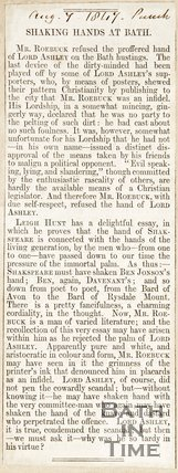 Newspaper article noting how Roebuck refused to shake the hand of Lord Ashley on the Bath Hustings, 1847