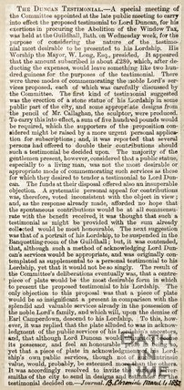 Newspaper article concerning the abolition of window tax proposed by Lord Duncan, 1852