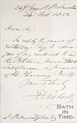 Handwritten note to Palmer and Tyler Esq. 1852