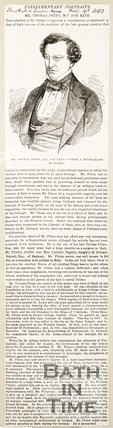Newspaper article concerning Mr. Thomas Phinn M.P. for Bath, 1853