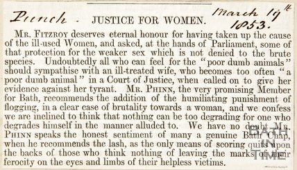 Newspaper article justice for women in Courts of Justice, 1853