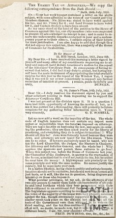 Newspaper article debating the yearly tax on attorneys in Bath, 1851