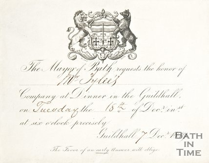 An invitation for a dinner at the Guildhall to Mr. Tylee, 1849