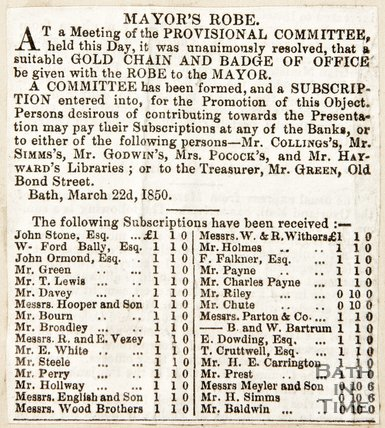 Newspaper article announcing a provisional meeting of the committee for Bath, 1850