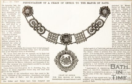 Newspaper article concerning the presentation of a chain of office to the Mayor of Bath, 1850
