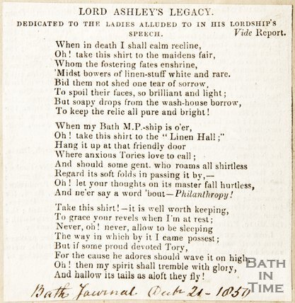 Newspaper article containing a poem entitled 'Lord Ashley's Legacy', 1850