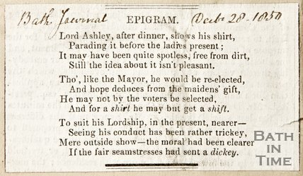 Newspaper article containing an epigram of Lord Ashley, 1850