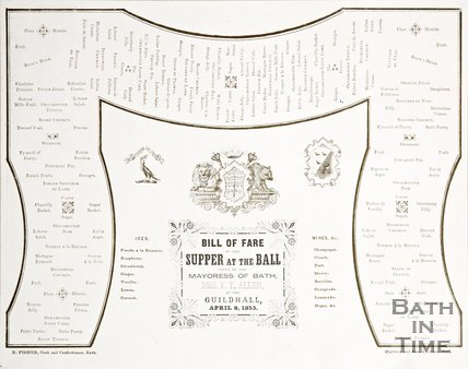 The Bill of Fare of the supper at the Mayoress's Ball, 1853