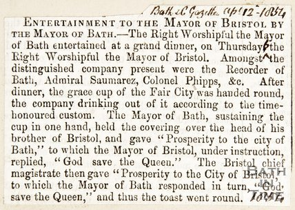 Newspaper article describing the dinner between the Mayor of Bristol and the Mayor of Bath, 1854