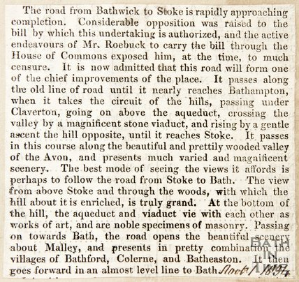 Newspaper article describing the new road from Bathwick to Stoke, 1834