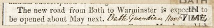 Newspaper article announcing the new from bath to Warminster is to be opened next May, 1834