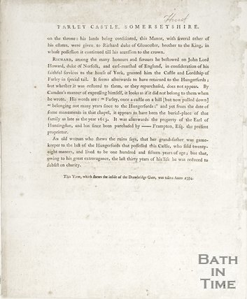 A pamphlet on Farleigh Hungerford Castle Somersetshire