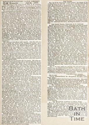 Newspaper article regarding Farleigh Hungerford Castle Somerset, 1852