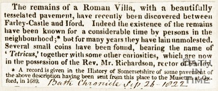 Newspaper article reporting on the discovery of a Roman villa between Farleigh Hungerford Castle and Iford, 1822