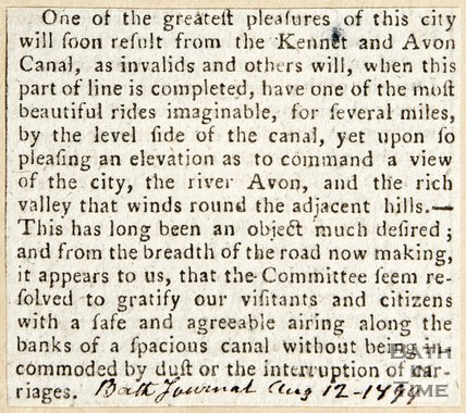 Newspaper article celebrating the near completion of the Kennet and Avon Canal, 1799