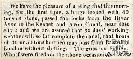 Newspaper article announcing the first barge to pass from the River Avon to the Kennet and Avon canal, 1810