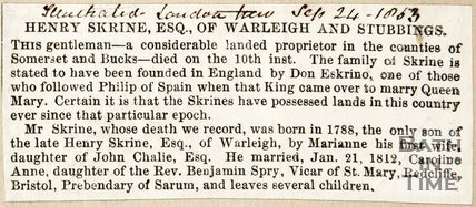 Newspaper article announcing the death of Henry Skrine Esq of Warleigh and Stubbings, 1863