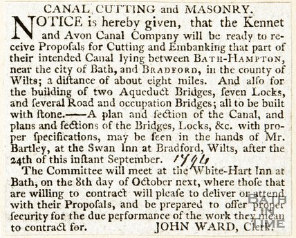Newspaper article giving notice for building works to commence on the intended canal between Bath Hampton and Bradford, 1794
