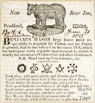 Newspaper article advertising the New Bear Inn at Bradford on Avon Wilts, 1815
