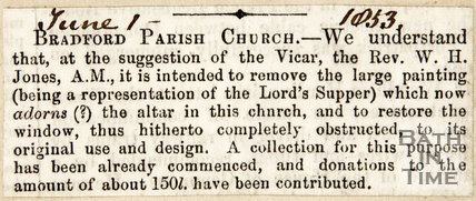 Newspaper article concerning the removal of a painting from the Bradford on Avon Parish Church 1853