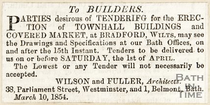 Newspaper article asking for tenders for the Town Hall Buildings Bradford on Avon, 1854