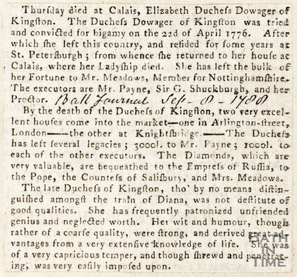 Newspaper article announcing the death of Elizabeth Duchess Dowager of Kingston House Bradford of Avon, 1788
