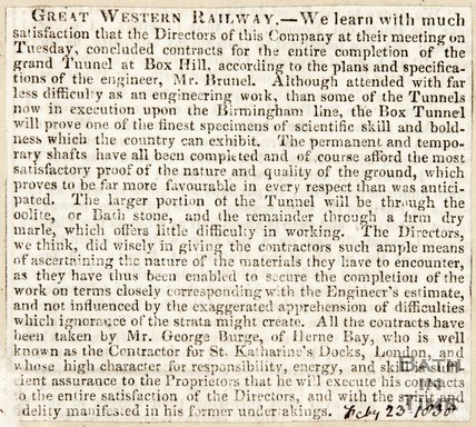 Newspaper article announcing completion of contracts for the tunnel at Box Hill, 1838