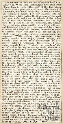Newspaper article announcing the completion of the Great Weston Railway, 1841