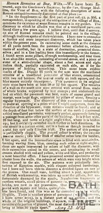 Newspaper article reporting on the discovery of Roman Remains in Box Wilts, 1833