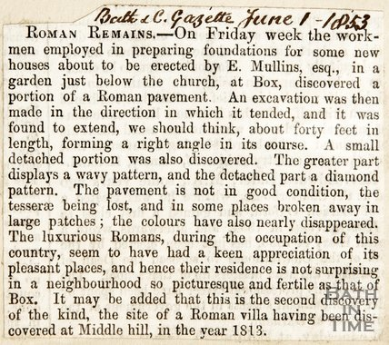 Newspaper article reporting on the discovery of a Roman pavement in Box, 1853