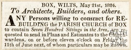 Newspaper article inviting tenders to the rebuilding of Box Parish Church, 1824