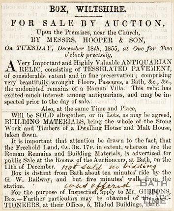 Newspaper article advertising the auction of antique relics in Box, 1855