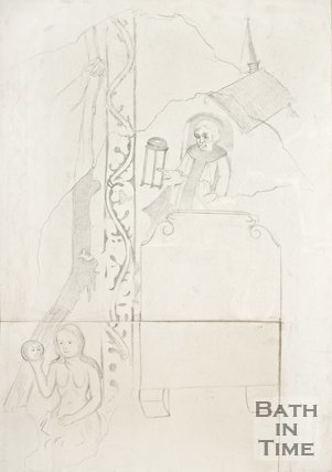Pencil sketch of Medieval wall paintings in Ditteridge Church