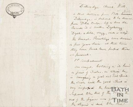 Handwritten note describing Ditteridge Church Wiltshire