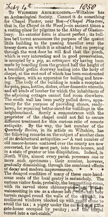 Newspaper article asking for the Wiltshire Archaeological Society to restore the Chapel Plaister near Box, 1858
