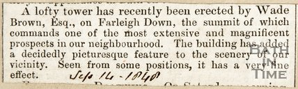 Newspaper article announcing the construction of a lofty tower by Wade Browne Esq. on Farleigh Hungerford down, 1848