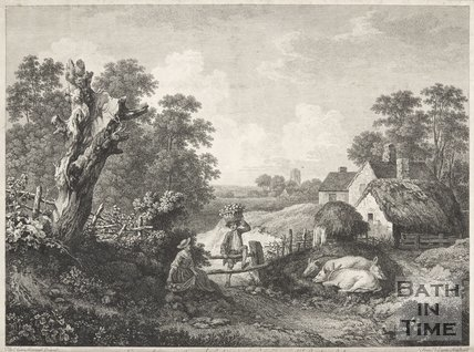 Landscape featuring pigs and couple in foreground