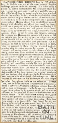 Obituary of Thomas Gainsborough