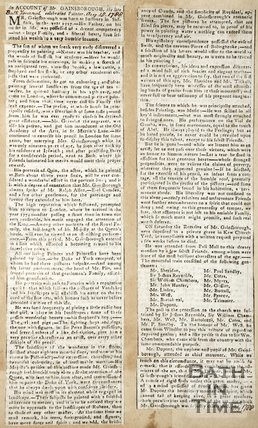 Newspaper article offering an account of Mr. Gainsborough, 1788