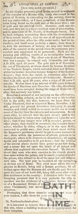 Newspaper article concerning antiquities found at Newton St. Loe, 1858
