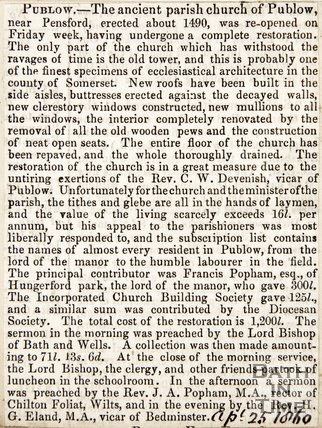 Newspaper article describing refurbishments at Publow Church, 1860