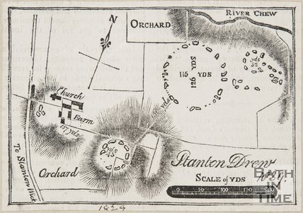 Map of druid remains at Stanton Drew, 1829