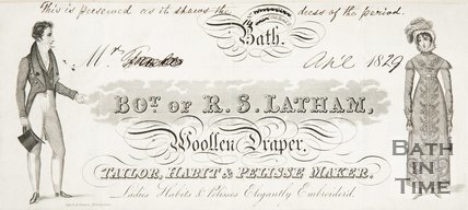 Advert for R. S. Latham Woollen, Draper Taylor, Habit Pellissie Maker, 1829