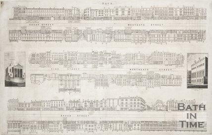 Street panoramas of Cheap Street, Westgate Street, High Street, Northgate Street and Broad Street, 1840