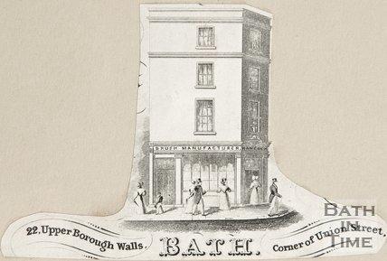 22, Upper Borough Walls. Bath Corner of Union Street, 1860?