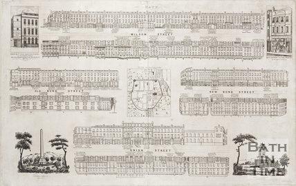 Street panoramas of Milsom Street, Old Bond Street, New Bond Street and Union Street, 1840
