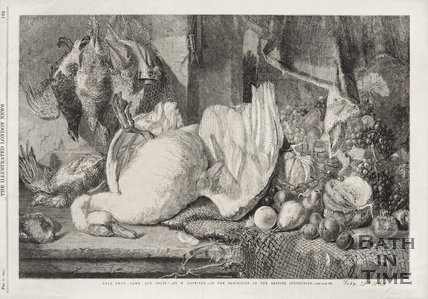 Dead swan game and fruit still life by W. Duffield, 1860