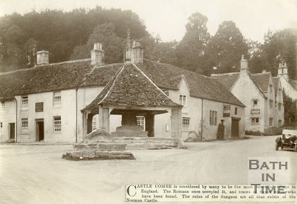 The Castle Inn and ancient market cross, Castle Combe Wiltshire, c.1910