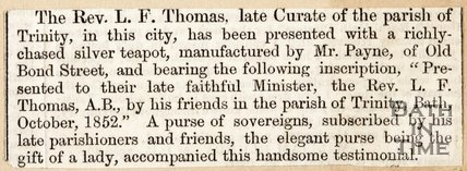 Newspaper article describing the leaving ceremony for Rev. Thomas. October 1852.